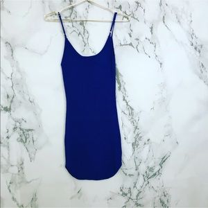Blue Ribbed Spaghetti Strap Dress